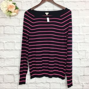 J.Crew Navy Pink Striped Boatneck Sweater Size S